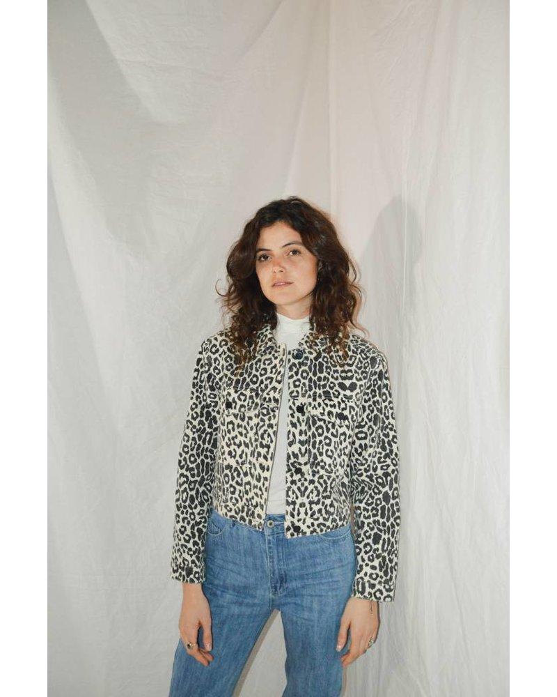 Mika-Elles Veste Leopard   Noir et Blanc