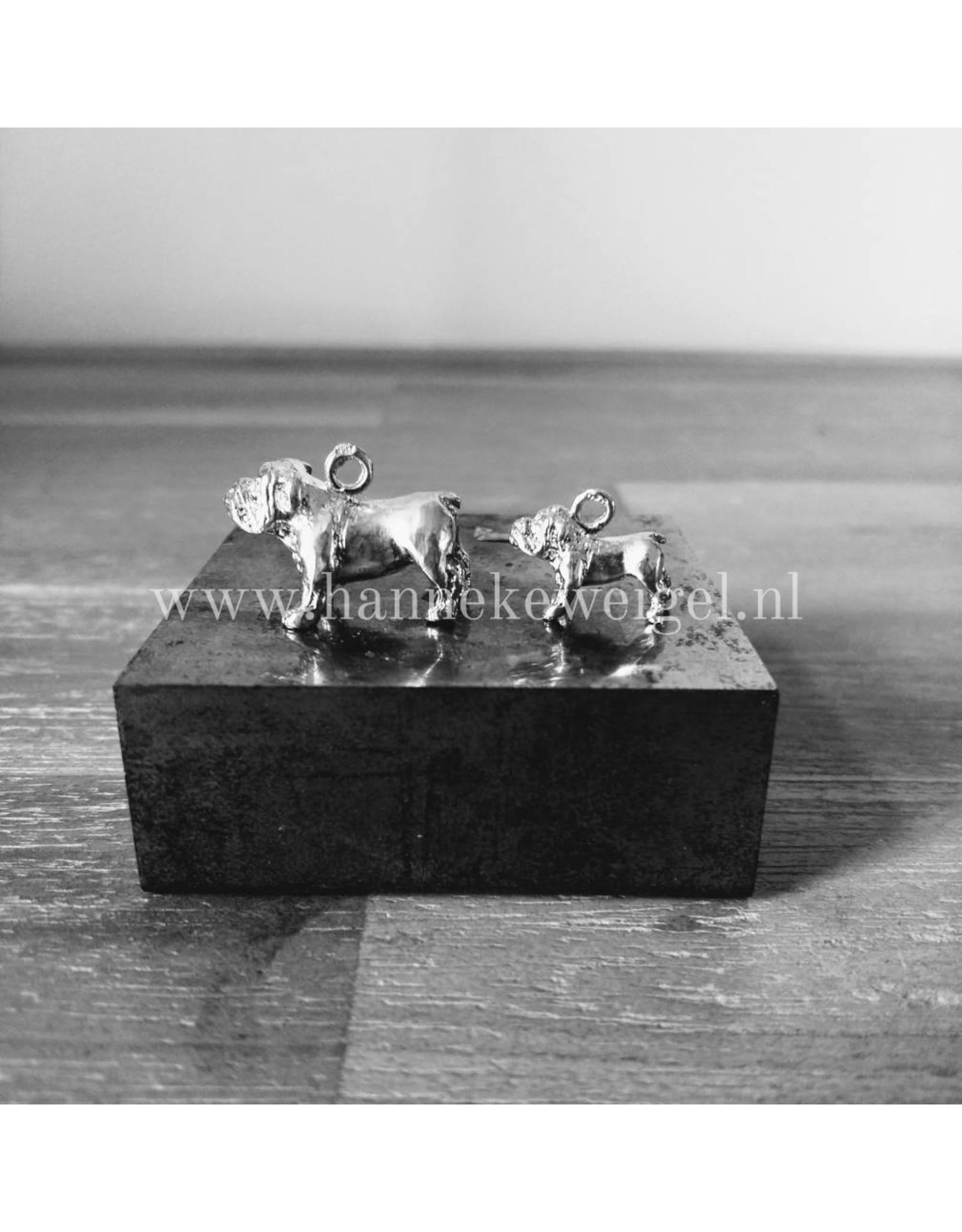 Handmade by Hanneke Weigel Zilveren Engelse bulldog
