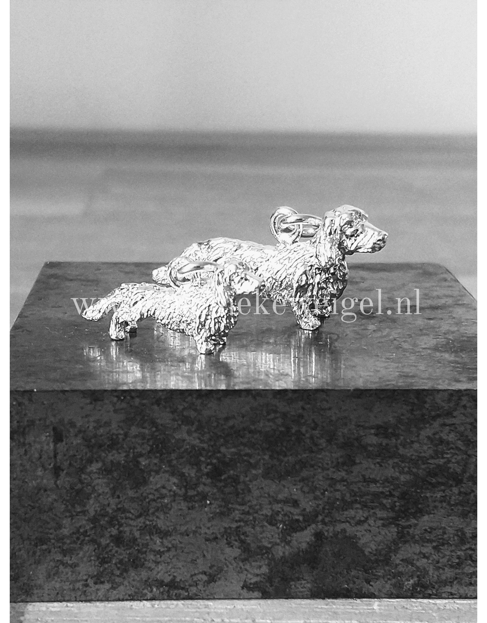 Handmade by Hanneke Weigel Sterling silver dachshund  langhaar
