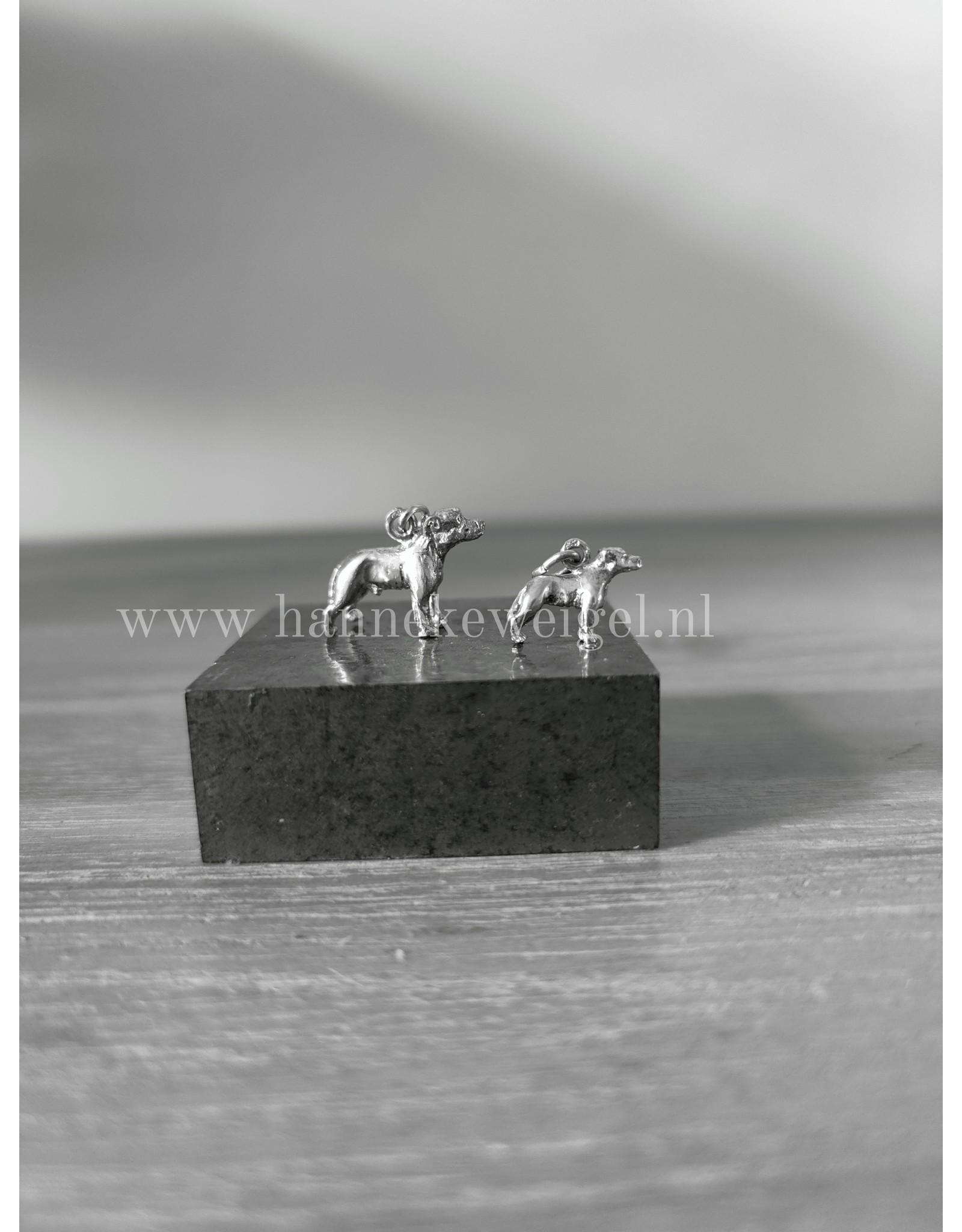 Handmade by Hanneke Weigel Sterling silver Staffordshire bull terrier