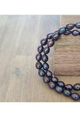Handmade by Hanneke Weigel Pearn necklace peacock 7.5-8.0 mm