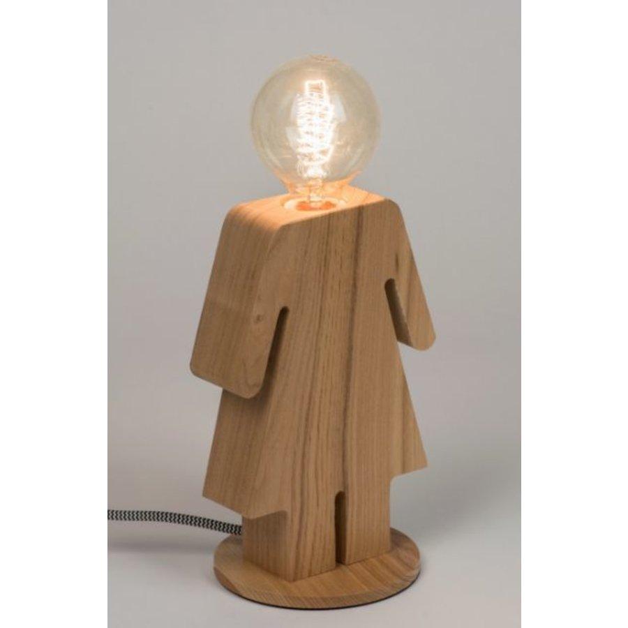 Tafellamp houten vrouwtje Eve in twee maten-2