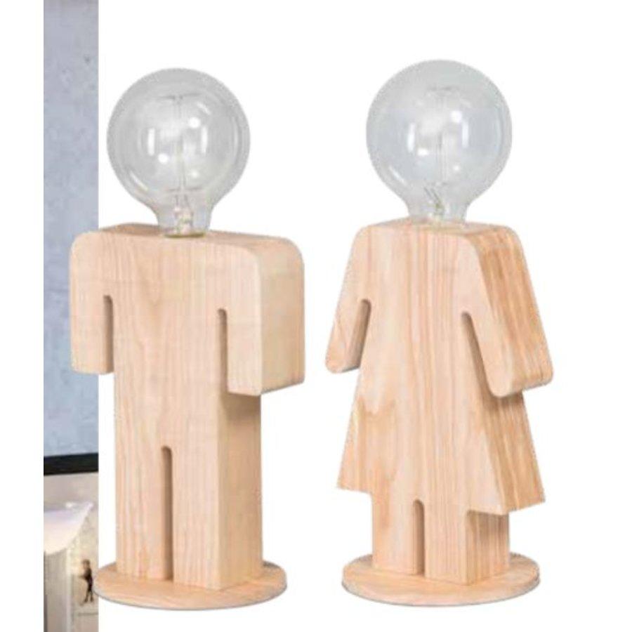 Tafellamp houten vrouwtje Eve in twee maten-4