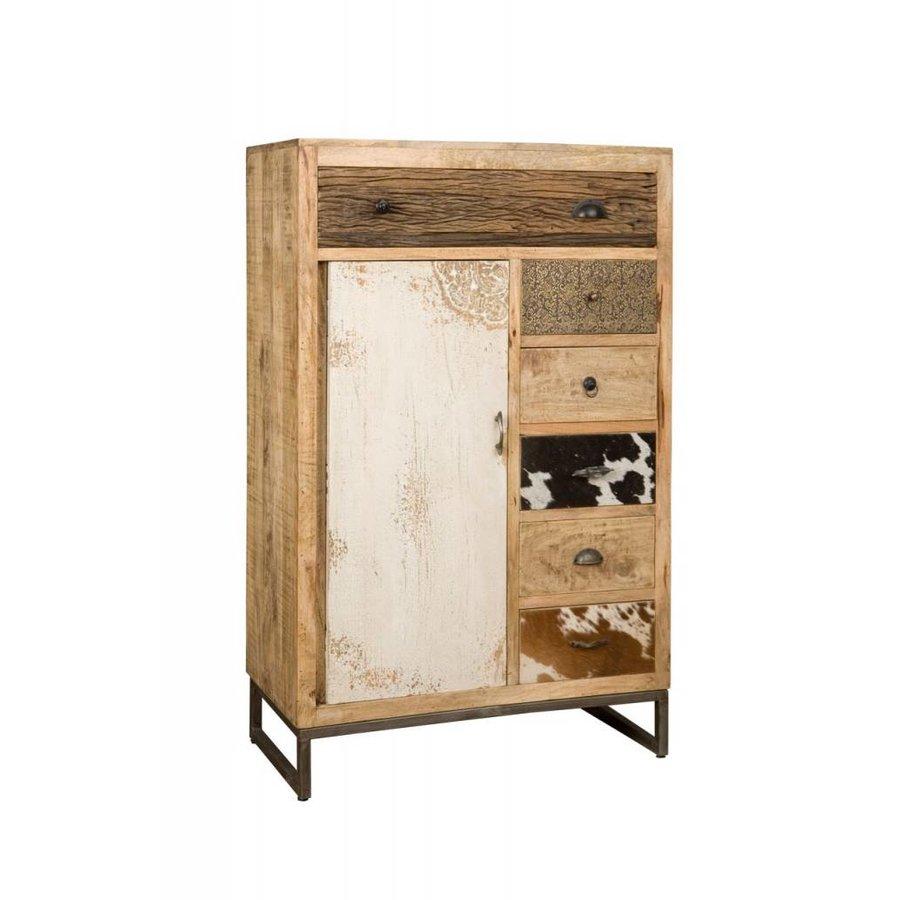 Kast met laden en deur in hout metaal en koeienhuid-1
