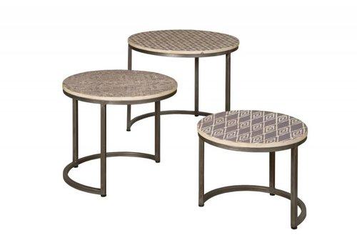 Set van 3 ronde bijzettafels met zwartwit print
