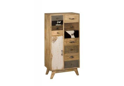 Ladenkast smal met laden in hout metaal en koeienhuid