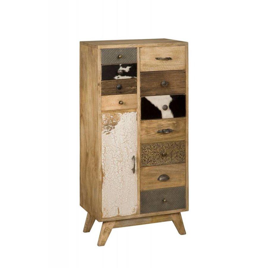 Smalle hoge vintage ladenkast in hout, metaal en koeienhuid-1
