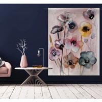 thumb-Urban Cotton wandkleed Flowers in Soft Hues van Charlotte Greeven op 100% biologisch katoen-1