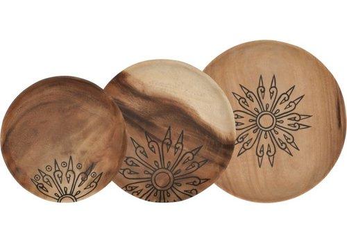Mandala set van drie houten schalen