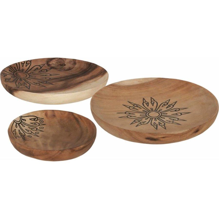 Trays Mandala set van drie houten schalen in 3xØ18 cm, 4xØ22 cm en 4xØ28 cm-8