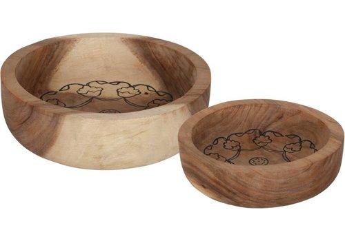 Bowls Mandela set van twee diepe houten schalen