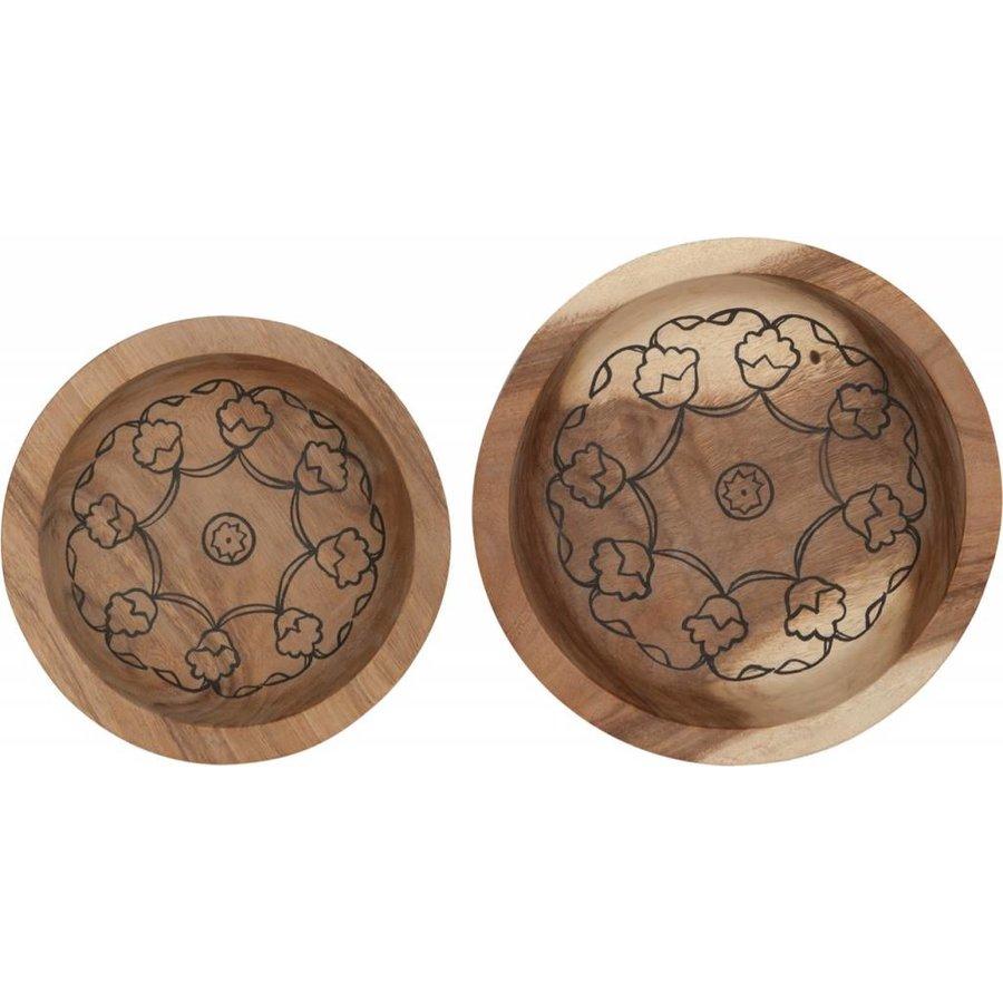 Bowls Mandela set van twee diepe houten schalen in 7xØ24 cm en 10xØ29 cm-4