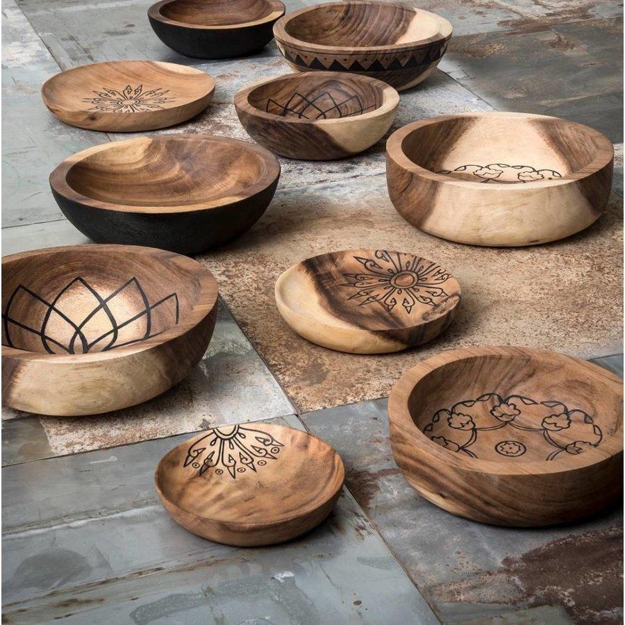 Bowls Mandela set van twee diepe houten schalen in 7xØ24 cm en 10xØ29 cm-7