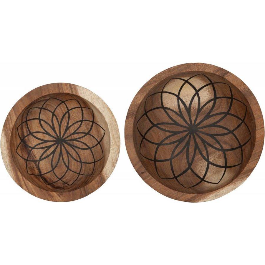 Bowls Mandala Lotus set van twee diepe houten schalen ø25 en ø30 cm-2
