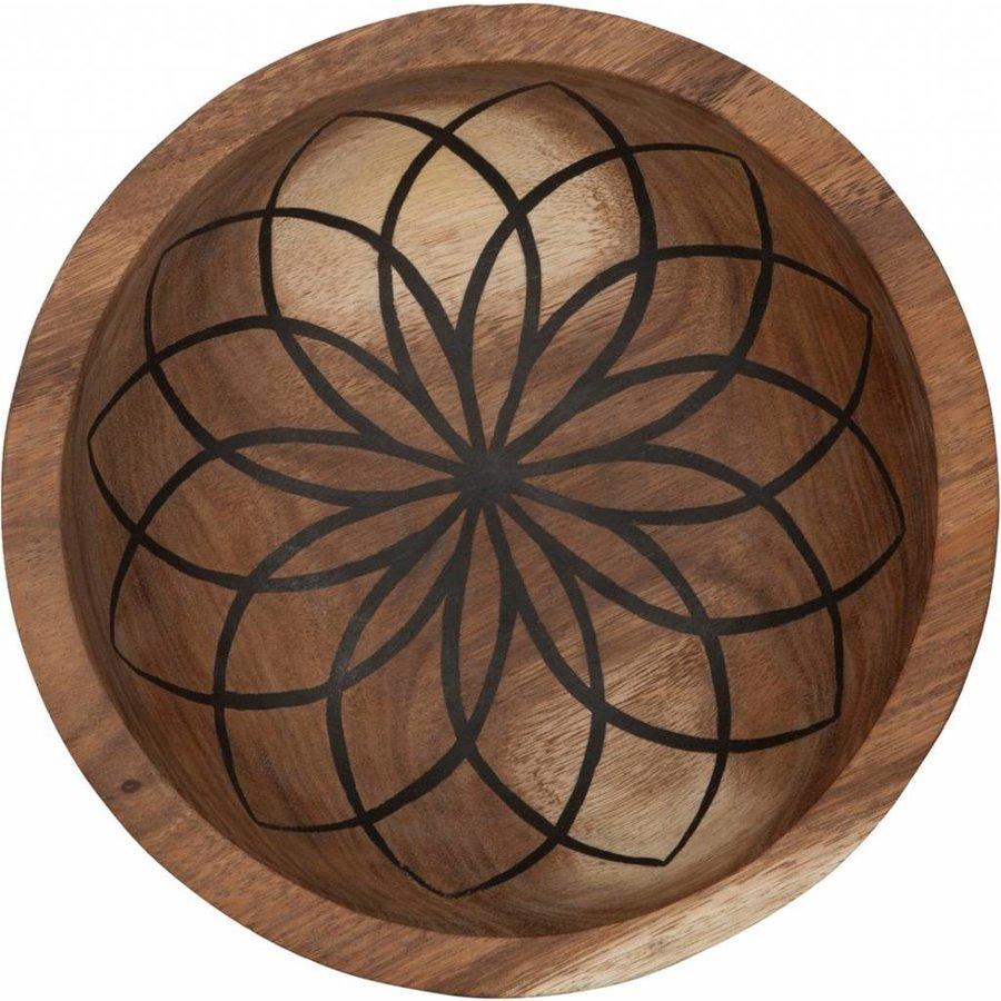 Bowls Mandala Lotus set van twee diepe houten schalen ø25 en ø30 cm-4