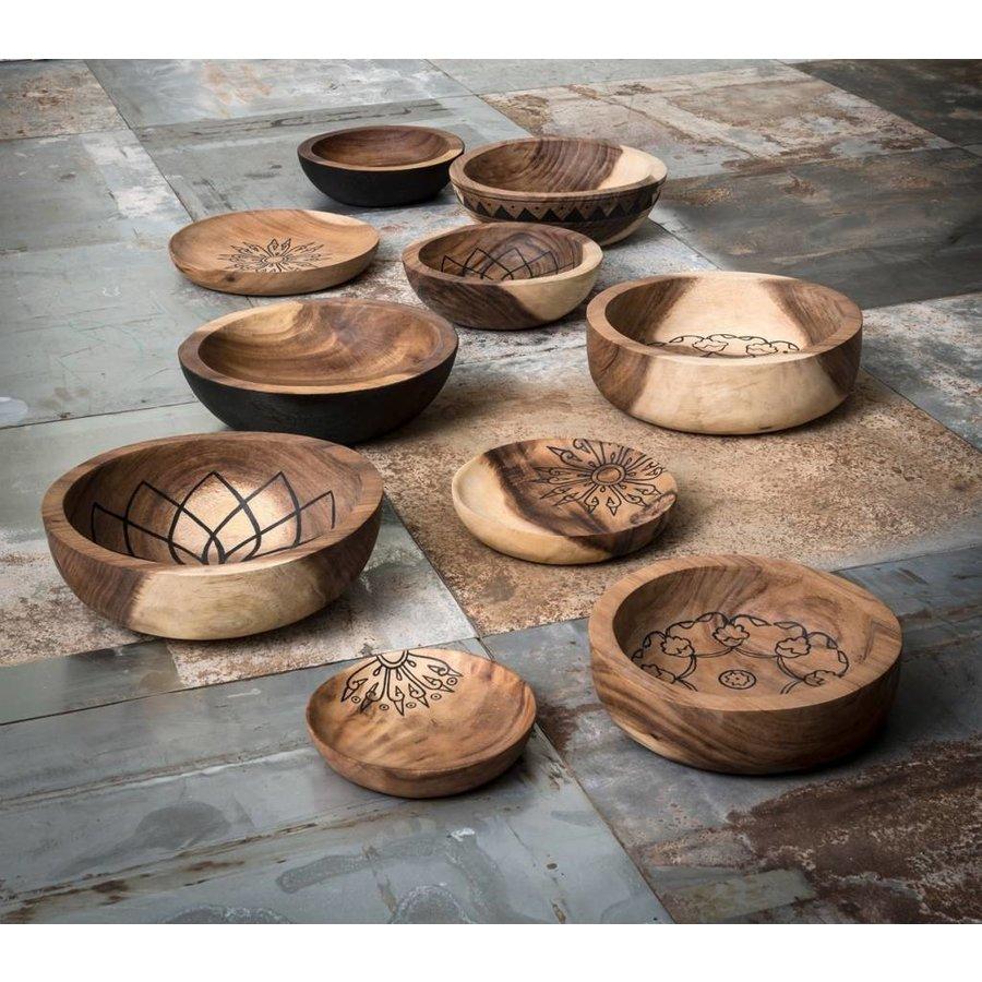 Bowls Mandala Lotus set van twee diepe houten schalen ø25 en ø30 cm-7