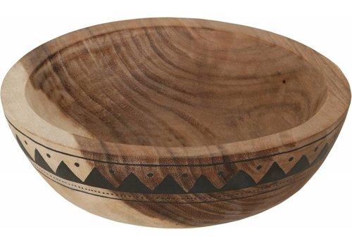Mandala Aztec diepe houten schaal 10 x ø30 cm
