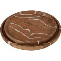 thumb-2-delige set houten schalen Cream in ø30 en ø35 cm-2