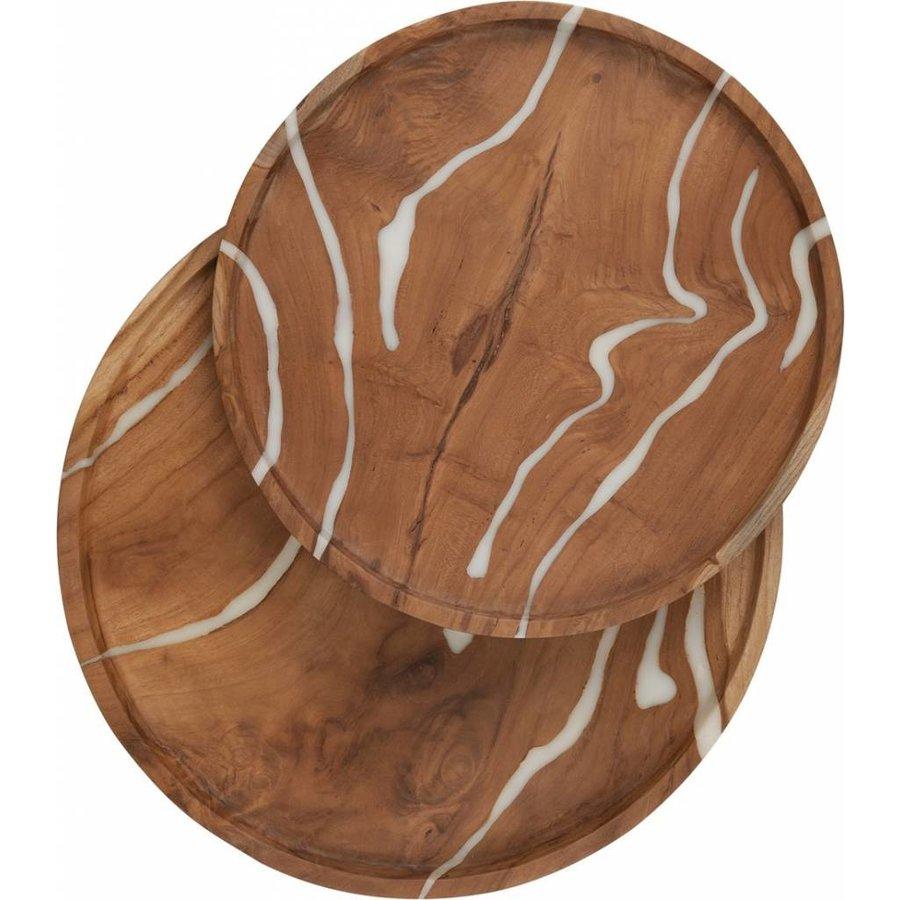 2-delige set houten schalen Cream in ø30 en ø35 cm-4