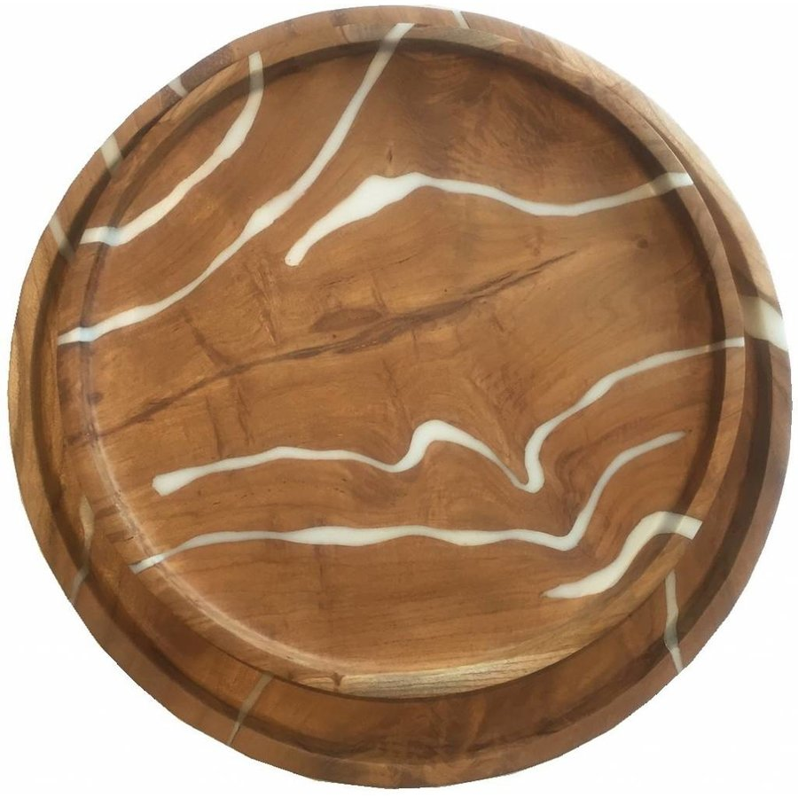 2-delige set houten schalen Cream in ø30 en ø35 cm-6