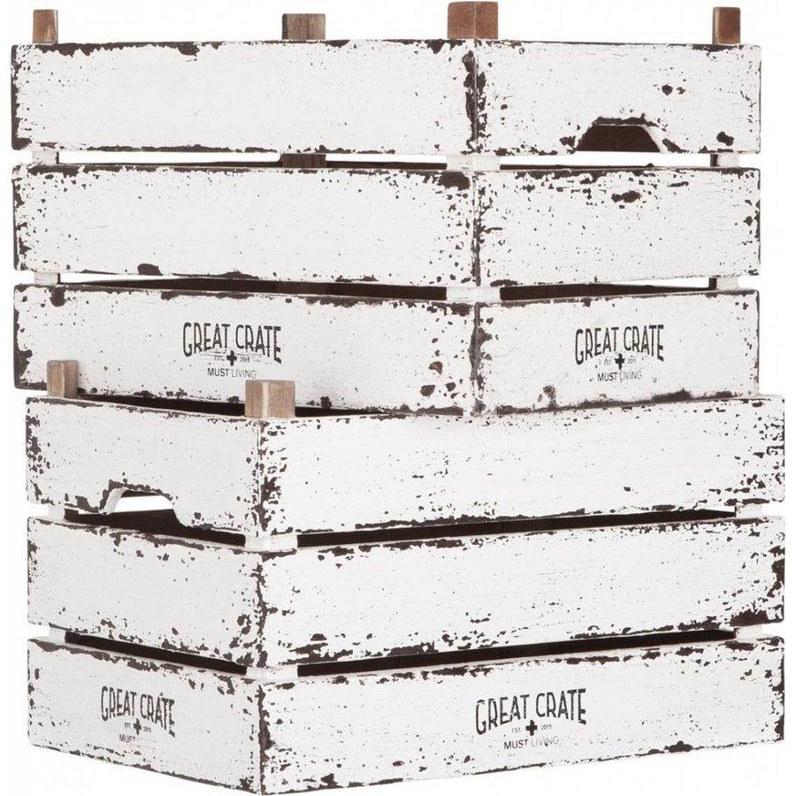 Great Crate hoge witte houten krat Large-4