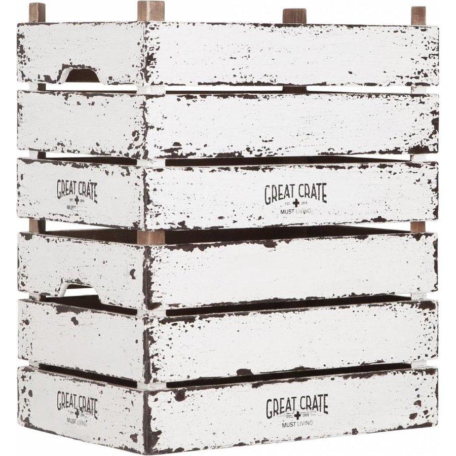 Great Crate hoge witte houten krat Large-5