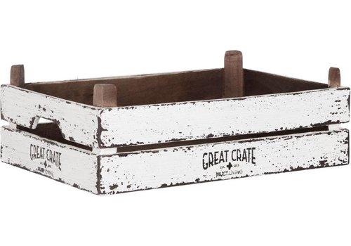 Great Crate lage witte houten krat 12x45x30 cm