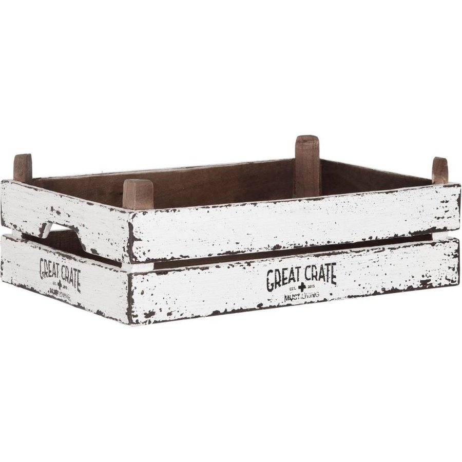 Great Crate lage witte houten krat 12x45x30 cm-1