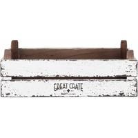 thumb-Great Crate lage witte houten krat 12x45x30 cm-2