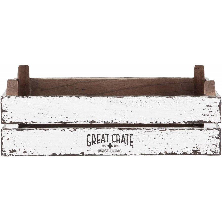 Great Crate lage witte houten krat 12x45x30 cm-2