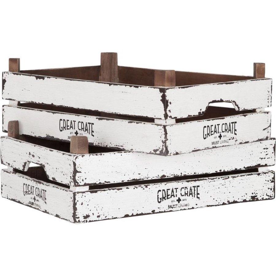 Great Crate lage witte houten krat 12x45x30 cm-3