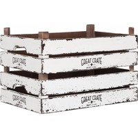 thumb-Great Crate lage witte houten krat 12x45x30 cm-4