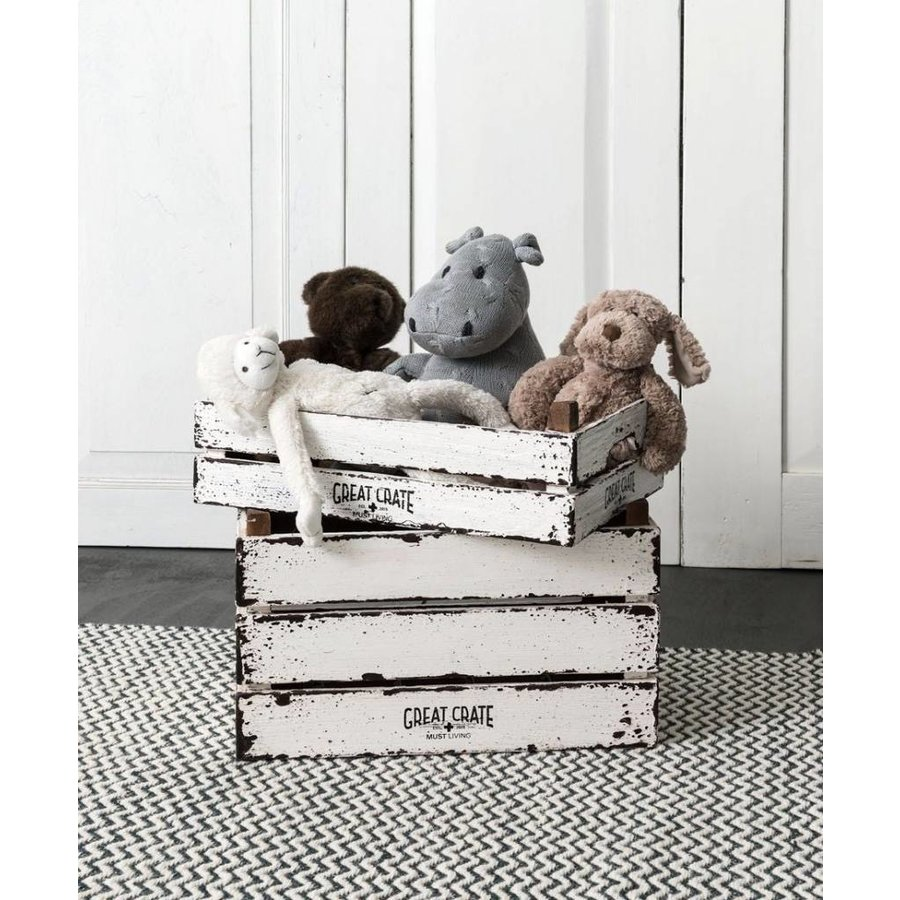 Great Crate lage witte houten krat 12x45x30 cm-5