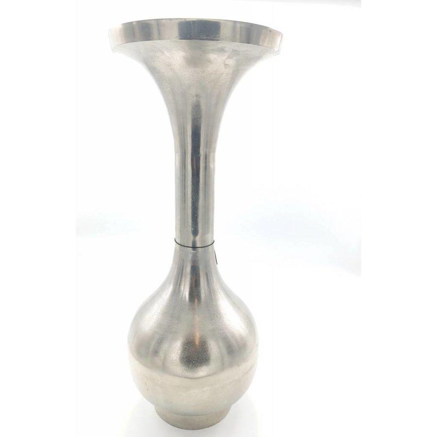 Zilverkleurige aluminium vaas 63 cm hoog-4