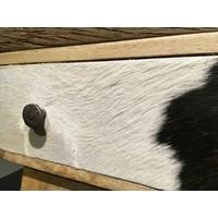 thumb-Smalle hoge vintage ladenkast in hout, metaal en koeienhuid-2
