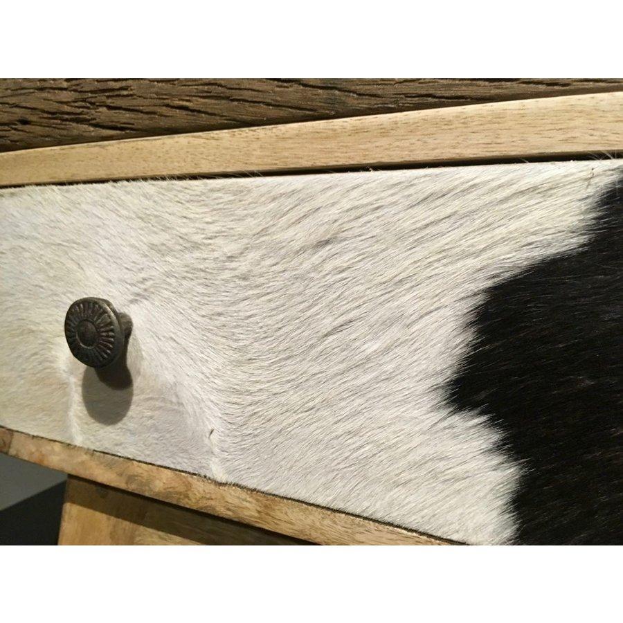 Smalle hoge vintage ladenkast in hout, metaal en koeienhuid-2