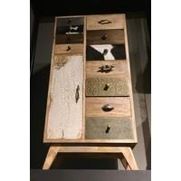 thumb-Smalle hoge vintage ladenkast in hout, metaal en koeienhuid-3