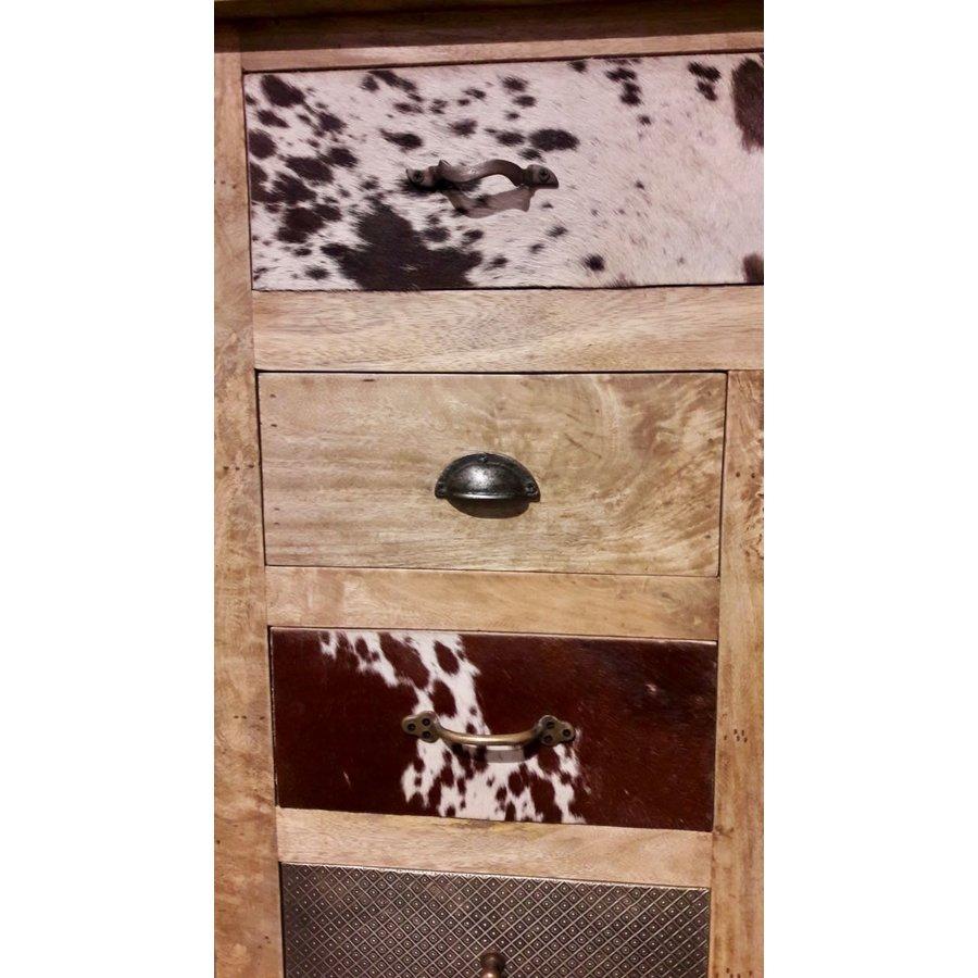 Kast met laden en deur in hout metaal en koeienhuid-4