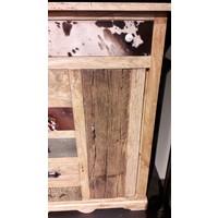 thumb-Kast met laden en deur in hout metaal en koeienhuid-3