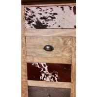 thumb-Kast met laden en deur in hout metaal en koeienhuid-4