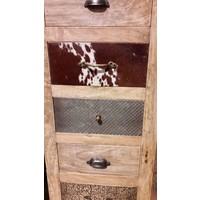 thumb-Kast met laden en deur in hout metaal en koeienhuid-5