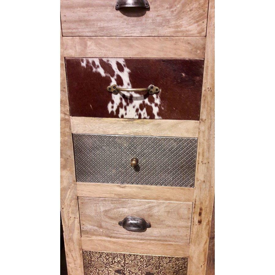 Kast met laden en deur in hout metaal en koeienhuid-5