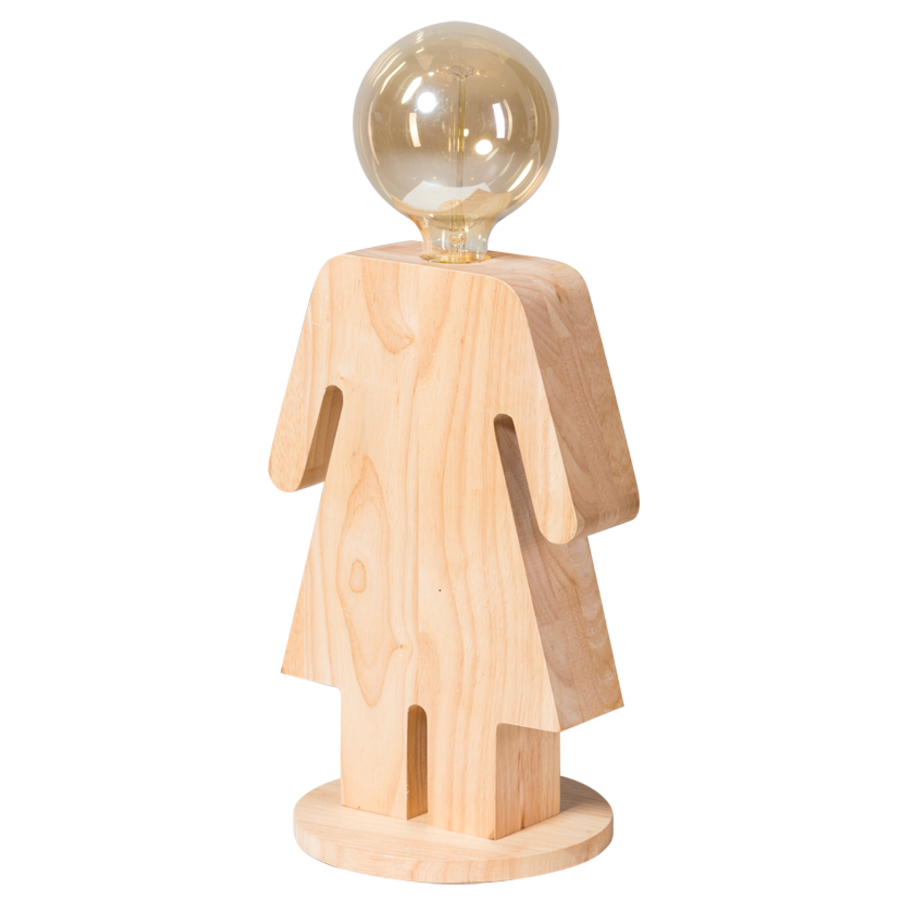 Tafellamp houten vrouwtje Eve in twee maten-8