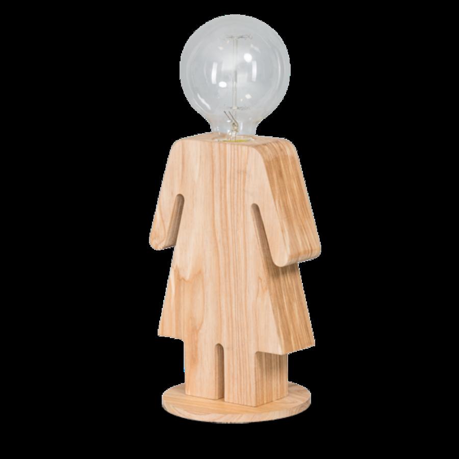 Tafellamp houten vrouwtje Eve in twee maten-1