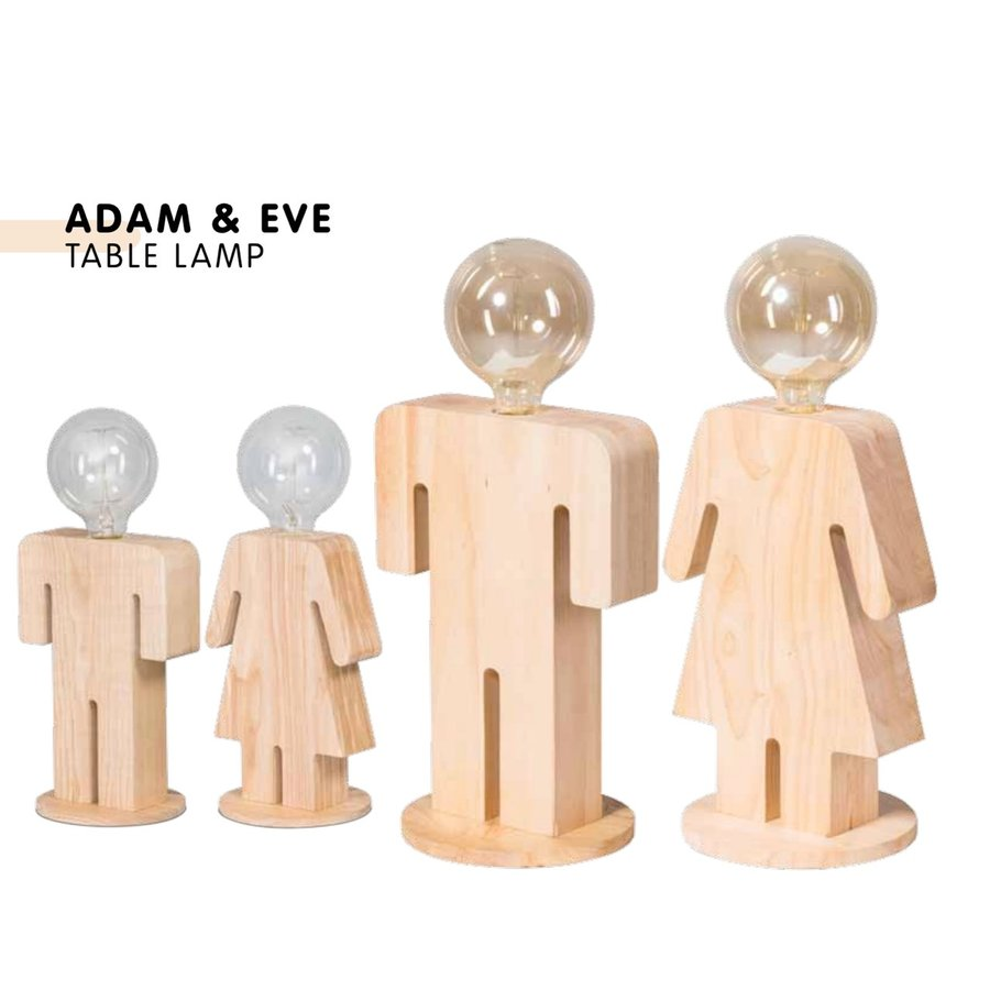 Tafellamp houten vrouwtje Eve in twee maten-9