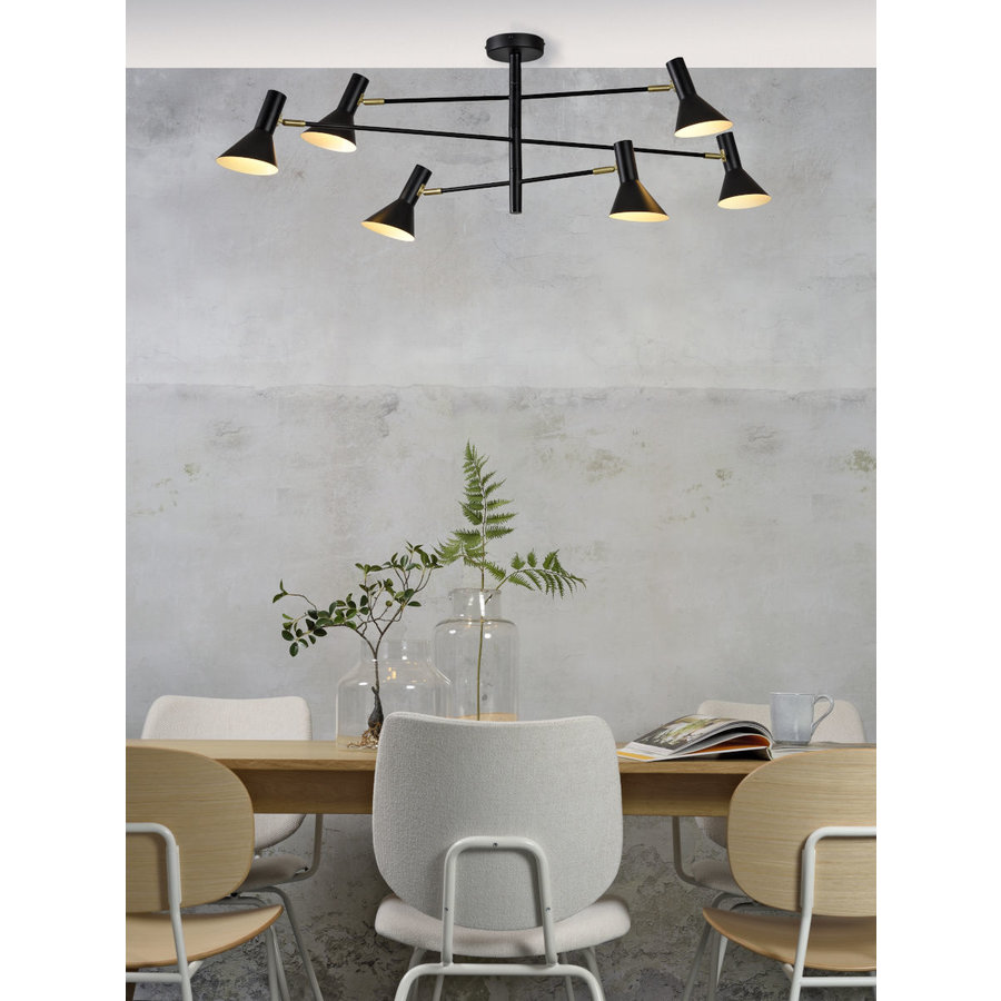 Plafondlamp Izmir zwart/goud draaibaar-2