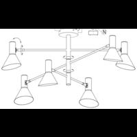 thumb-Plafondlamp Izmir zwart/goud draaibaar-9