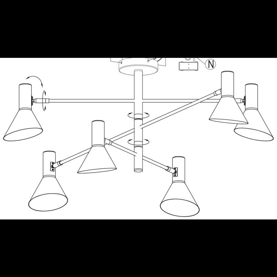 Plafondlamp Izmir zwart/goud draaibaar-9