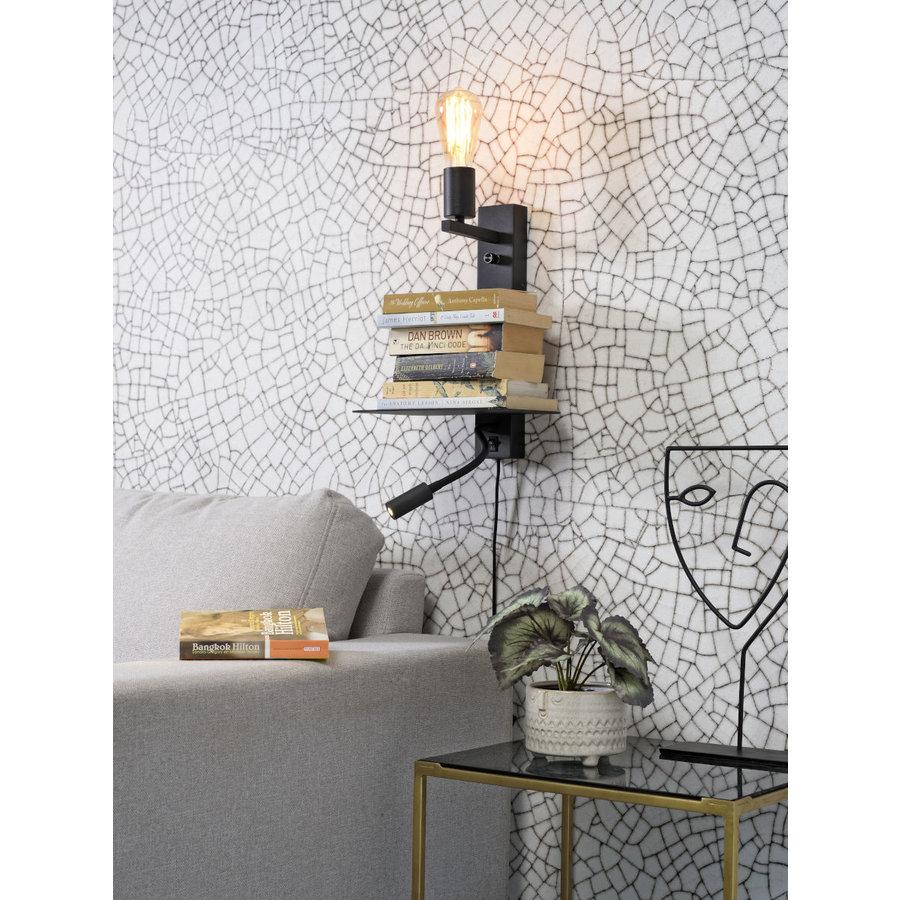 Wandlamp FLORENCE Large: met sfeerlicht, leeslamp, boekenplank en usb-oplader-5