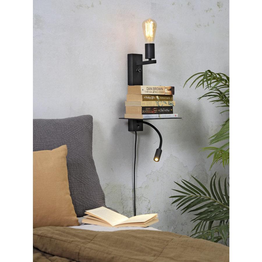 Wandlamp FLORENCE Large: met sfeerlicht, leeslamp, boekenplank en usb-oplader-6